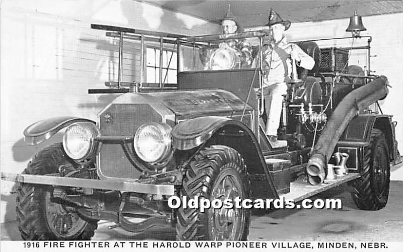 Minden, Nebraska, NE, USA Postcard 1916 Fire Fighter at the Harold Warp Pione...