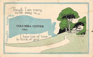 F64/ Columbia Center Ohio Postcard 1921 Pennant Many Miles Away