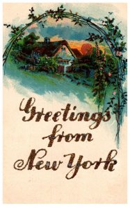 Greetings from New York , words in glitter