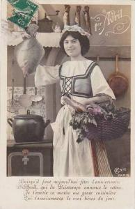 1er Avril April Fool's Day Woman With Basket Of Fish 1913