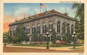 Galesburg Illinois~Carnegie Public Library~Burned Down 1958~1945 Linen Postcard