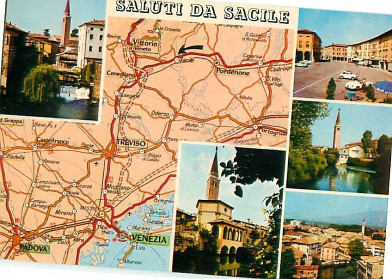 Saluti Da Sacile Map Italy Treviso Vittorio Pordenone Postcard