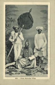 india, Native Hindu Mahratta Priest with Servants (1910s) Postcard