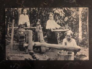Mint Thailand RPPC Postcard Siamese Women Milling Rice
