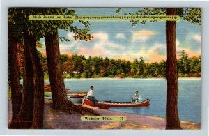 Webster MA, Birch Island On Lake, Massachusetts Linen c1954 Postcard