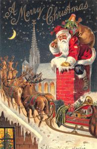 A Merry Christmas Red Suited Santa Claus Reindeer Sleigh Embossed Postcard