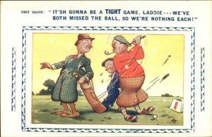 Golf Golfing Comic Missing Drive Shot - Bamforth Postcard