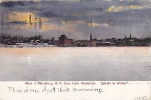 Sunset in winter, Lake Champlain, Plattsburg, New York, PU-00-10s