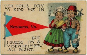 1913 Newsoms VA Virginia Dutch Kids Greetings Goils Visenheimer RARE Postcard