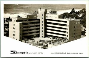 Santa Monica, California RPPC Photo Postcard SHANGRI-LA APARTMENT HOTEL c1950s