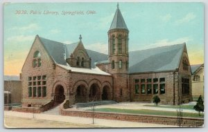 Springfield Ohio~Public Library~Arched Doors~Stone Tower~1911 Acmegraph Postcard