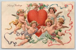 PFB Valentine~Gossamer Cherub Cupids Ring Around Plump Heart~Flower~Ribbons~7185
