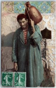 Algeria Postcard Water Carrier Native Dress Clay Jug 1909 ALGER Cancel