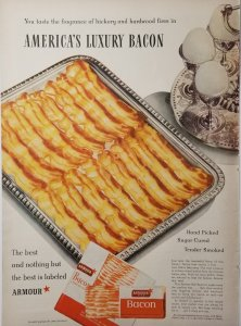 Armour Star Bacon Magazine Ad 1946 LIFE Color One Page EXL100109