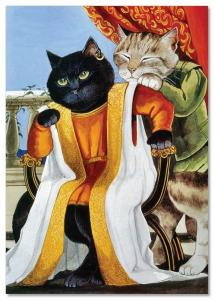 CAT King on Chair and Counselor by Susan Herbert NEW Russian Postcard