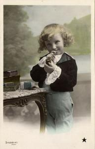 Beautiful Young Curly Girl with Smoking Tobacco Pipe (1910s) Stebbing RPPC I