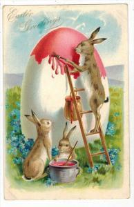 1656 Tuck's Easter Rabbits Painting Giant Egg