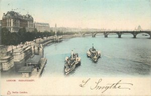 Postcard England London 1900s Thamise view embankement bridge steamboat