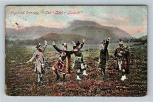 UK-United Kingdom, Highland Dancing The Reel O' Tulloch Vintage c1909 Postcard