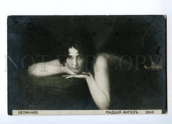 146349 Fallen angel WITCH by LEONHARD Vintage postcard