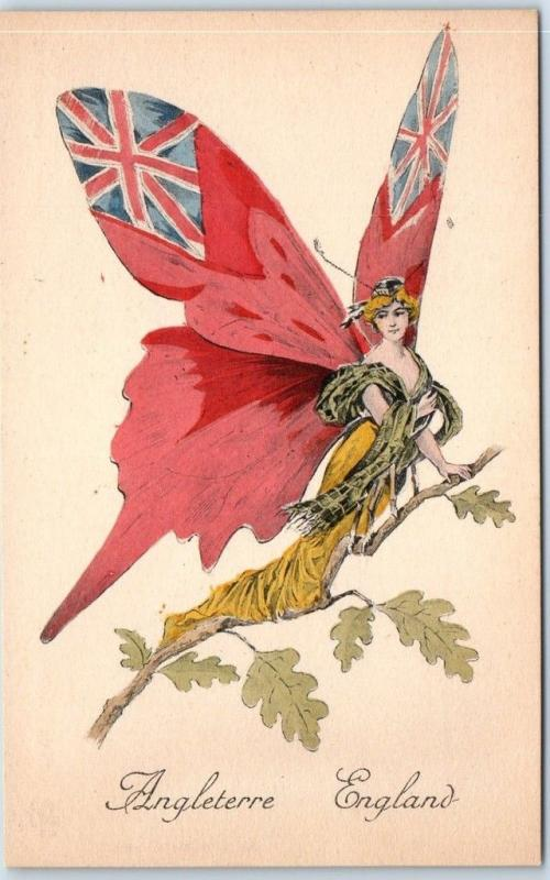 Vintage French Butterfly Girl Postcard ENGLAND Hand-Colored L. Marotte c1910s