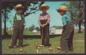 Greetings From Amish Country,Boys Playing Croquet Postcard