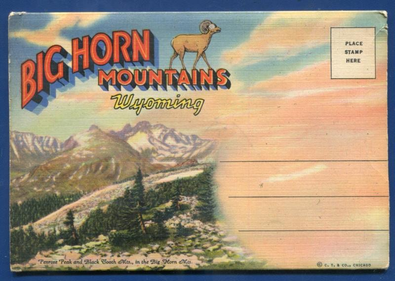 Big Horn Mountains Wyoming wy views scenes old linen postcard folder