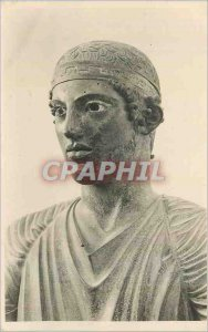 Old Postcard Museum of Delphi Duste the Charioteer of Delphi Bronze Statue