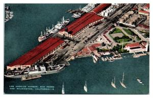 Los Angeles Harbor, San Pedro and Wilmington, CA Postcard *5N3