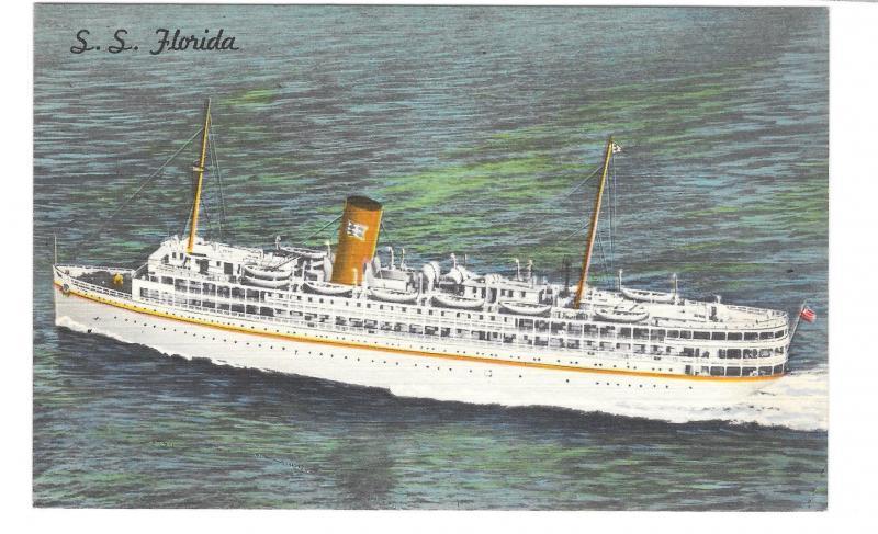 Miami Nassau Cruise Ship SS Florida P&O Steamship Co Vintage Linen Postcard