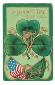 St Patricks Day Shamrock American Irish Flags Harp Embossed Gold Gilt Postcard