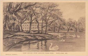 Maine Portland The Post Office From Deering Oaks Park Albertype