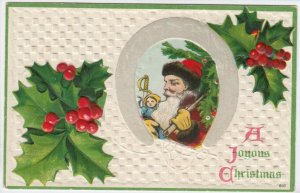 A Joyouse CHRISTMAS; Santa Claus in horse shoe, Holly, 00-10s