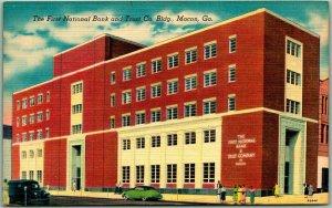 Macon, Georgia Postcard First National Bank & Trust Co. Bldg. Linen c1940s