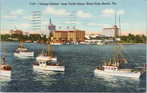 West Palm Beach Florida FL Going Fishing Boats c1945 Linen Postcard F2