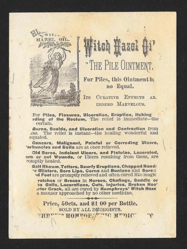 VICTORIAN TRADE CARD Humphreys' Witch Hazel Farm Scene