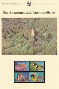 Sea Anemones Nauru WWF Stamps and Set Of 4 First Day Cover Bundle
