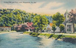 Irving Cliff and Park Lake - Honesdale PA, Pennsylvania - pm 1948 - Linen