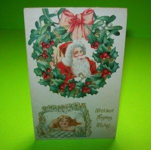 Vintage Christmas Postcard Santa & Sleeping Cherub Or Little Girl Embossed 1910