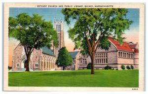 Mid-1900s Bethany Church and Public Library, Quincy, Massachusetts Postcard