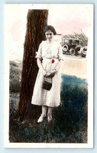 TINTED RPPC ~ Mystery AMERICANA Scene- Young WOMAN Posing c1920s CARS Postcard