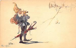 Artist Signed L Kiner? Munich Germany Umbrella ORIGINAL ART 1903 Postcard