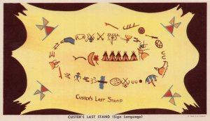 Custers Last Stand Sign Language Indian Oil Painting Postcard