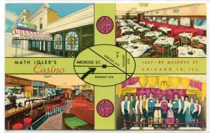 Igler's Casino Bar & Restaurant Singing Waiters Chicago Illinois 1960s postcard