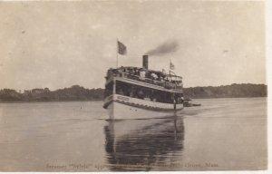 RP: Steamer Sylvia approaching Wharf, RIVERSIDE GROVE , Massachusetts, PU-1911