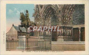 Old Postcard Reims Cathedral portal and Joan of Arc Statue
