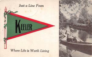 Michigan Mi PENNANT Postcard 1913 KEELER Just A Line From...