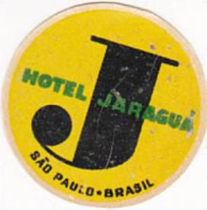 BRASIL SAO PAULO HOTEL JARAGUA VINTAGE LUGGAGE LABEL