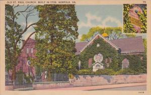 Virginia Norfolk Old Saint Paul Church Built In 1739 1940