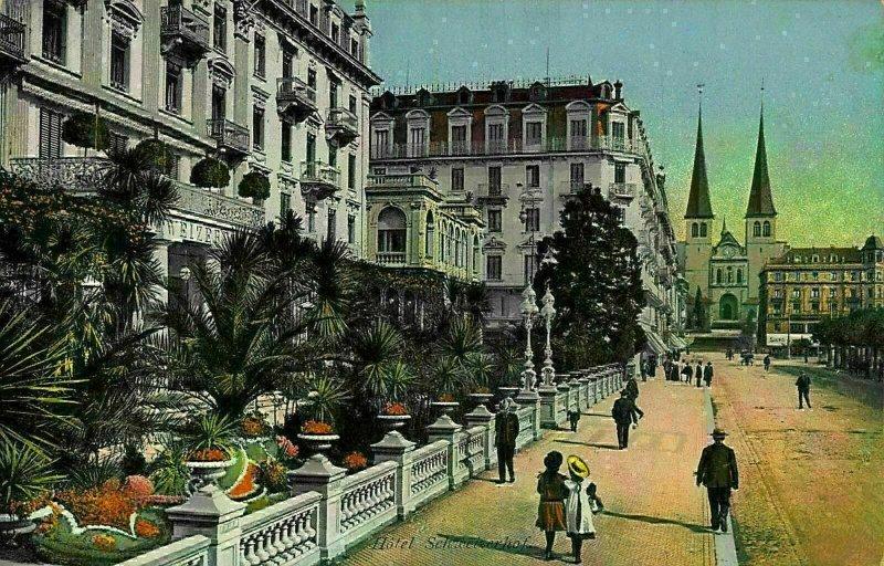 Switzerland Luzern Promenade vor dem Hotel Schweizerhof Postcard